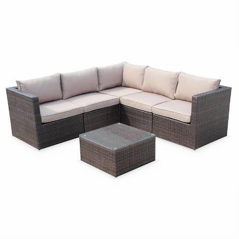 Siena 5 Seater Rattan Garden Sofa Set Aluminium Chocolate