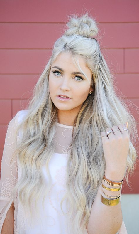 "CARA LOREN Ash Blonde  "" We also do a toner on my hair after I get it colored because I like my hair more of an ashy color.  The toner she uses is by Redkin and it is called Titanium.  She foils my head to color it and I don't get the entire head colored every time to try to relieve it from some of the damage. I get it redone about every 11 weeks, I'm not afraid of a little grow out haha"""