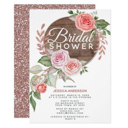 Blush Pink Rose Bridal Shower Invitations Beautiful Flowers Botanical Kitchen Tea Invite Elegant Floral Bouquet Roses Petals Pretty