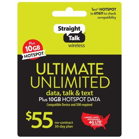 Straight Talk 55 Ultimate Unlimited 30 Day Plan E Pin Top Up Email Delivery Walmart Com Day Plan Straight Talk Wireless Mobile Hotspot