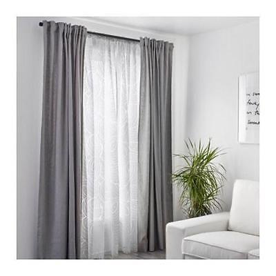 Ikea Nordis 2 Sheer White Curtain Panels Geometric Design 57 X 98