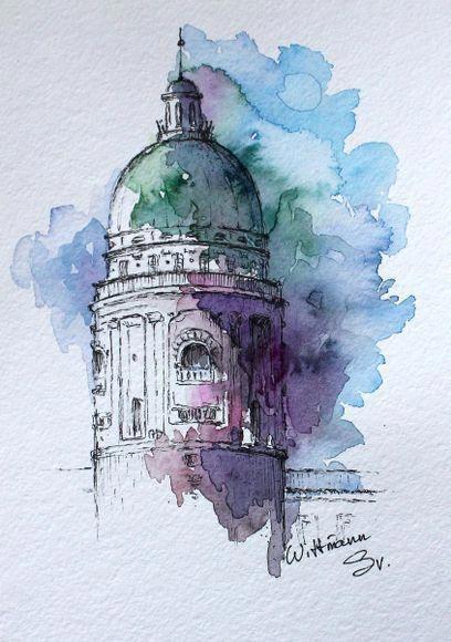 Watercolor City Architecture Art Original Aquarelle Painting