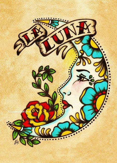 Old school tattoo moon art la luna loteria print 5 x 8 x 10 or 11 Ed Hardy Tattoos, Trendy Tattoos, New Tattoos, Family Tattoos, Diy Bordados, Tattoo Mond, Desenhos Old School, Los Muertos Tattoo, Dessin Old School