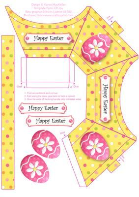 Cute Little Easter Gift Basket on Craftsuprint designed by Karen MacKellar - Cute little Easter theme basket ideal for giving a small gift or eggs. - Now available for download!