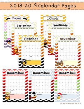 Editable 2019 2020 School Year Owl Calendar Pages Calendar