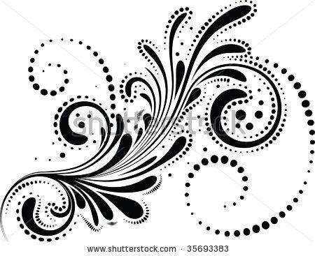 Line Art Vector Design : Vector of corner flourishes old silhouettes flourish flower