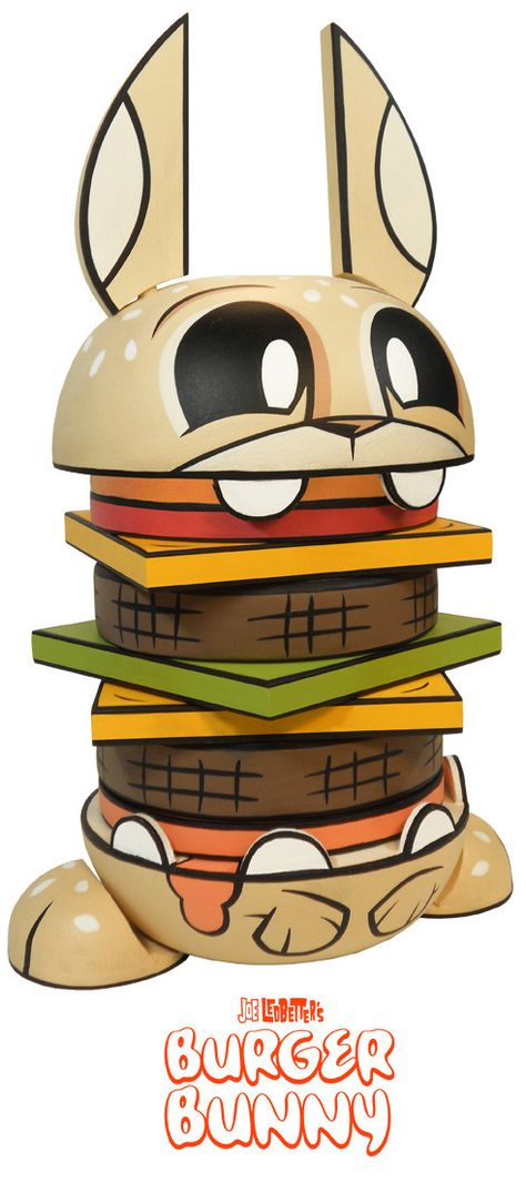 "Joe Ledbetter x The Loyal Subjects x Fresh Manila - Exclusive 10"" tall wooden ""Burger Bunny"""