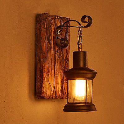 Antik Retro Vintage Industriell Holz Wandleuchte Wand Lampe