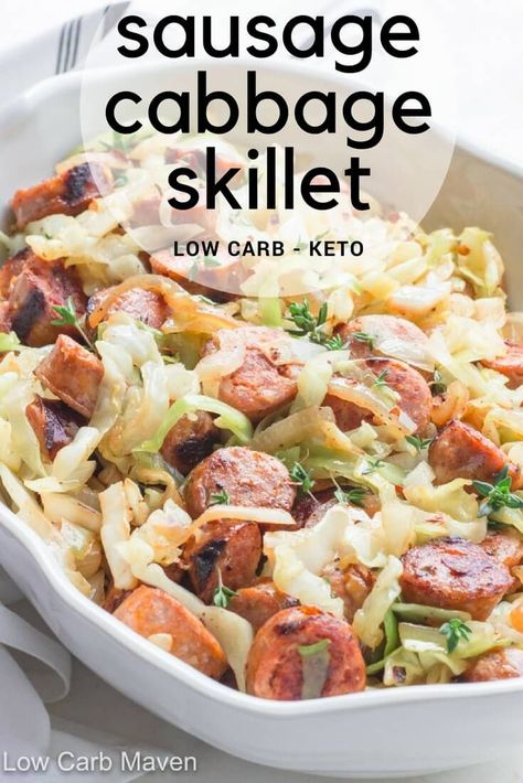 Must-Try Keto Cabbage Recipes Easy Sausage and Cabbage Skillet Dinner is a fast and delicious meal.Easy Sausage and Cabbage Skillet Dinner is a fast and delicious meal. Low Carb Maven, Low Carb Keto, 7 Keto, Vegan Keto, Keto Cabbage Recipe, Cooked Cabbage Recipes, Skillet Cabbage Recipe, Broccoli Recipes, Cabbage And Sausage