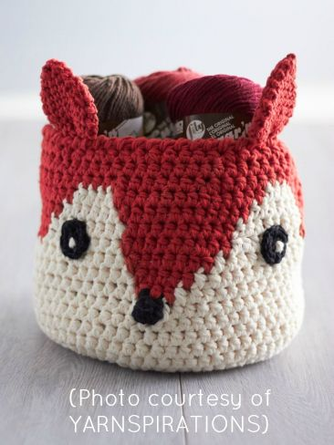 Crocheted basket...that looks like a fox! ~s~ (Also includes links to FREE amigirumi fox patterns)