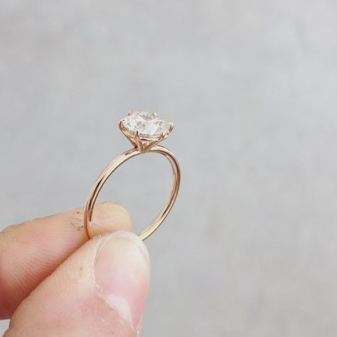 Monday morning sparkle. A 1.3 carat round cut diamond set in rose gold in my signature solitaire setting. ✨