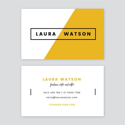 Mustard Black And White Simple Linear Writer Business Card Easil Business Card Design Black Business Card Design Simple Business Card Inspiration
