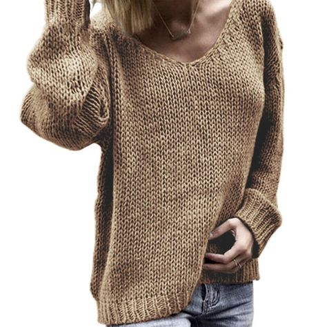 2019 Casua V Neck Women Pullover Sweaters Loose Knitted Autumn Winter Casual Solid Pullovers Pull Femme Jumper