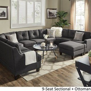 Elston Dark Grey Linen U Shape Sectionals By Inspire Q Modern 10