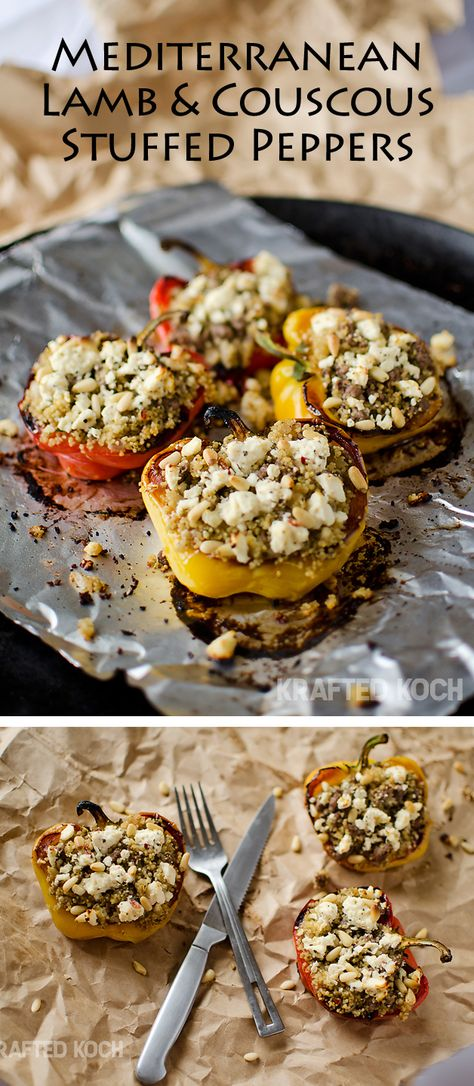 Mediterranean Lamb & Couscous Stuffed Peppers — These sweet roasted peppers are loaded with bold Mediterranean flavors and pair perfectly with a side of creamy tzatziki.