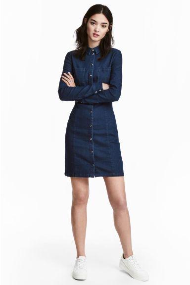 72bf34258 Dopasowana szmizjerka - Ciemnoniebieski denim - ONA   H&M PL Blue Shirt  Dress, Jeans Dress