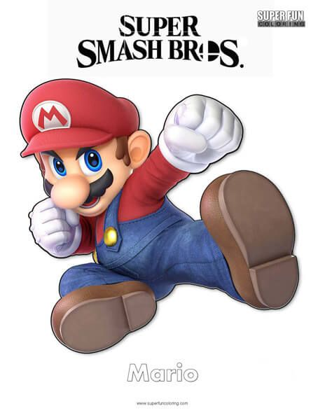 Super Smash Brothers Coloring Pages Super Smash Brothers Mario