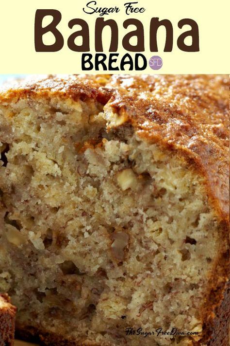 The best Sugar Free Banana Bread #sugarfree #banana #bread #recipe #glutenfree