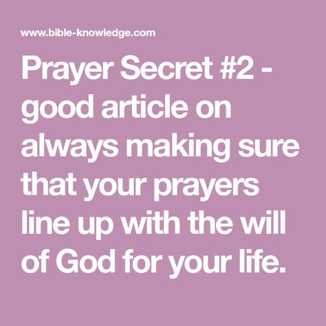Prayer Secret #2 - The Will of God For Your life