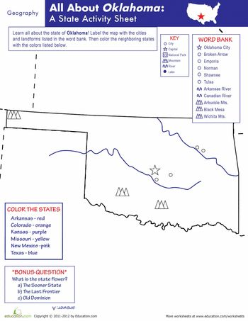 Oklahoma State Worksheet: Elementary Version by The Wright Ladies