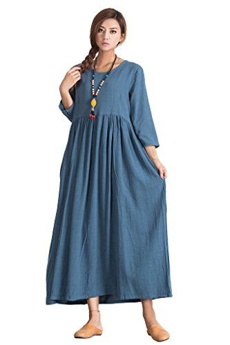 Sellse Womens Linen Cotton Elegant Soft Maxi Dress Plus Size ...