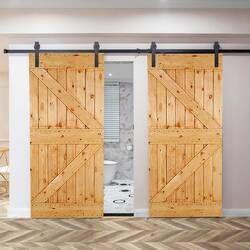 Classic Design Standard Double Track Barn Door Hardware Kit In 2020 Garage Door Design Barn Door Door Hardware
