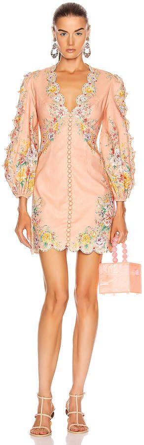 Zimmermann Zinnia Scallop Mini Dress in Coral Floral  FWRD #Sponsored , #AD, #Scallop#Mini#Zimmermann