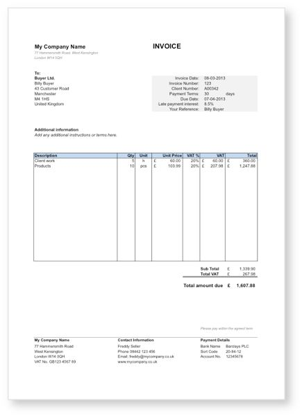 Free invoice template in Word, Excel, PDF and Google Drive Free - filling out an invoice