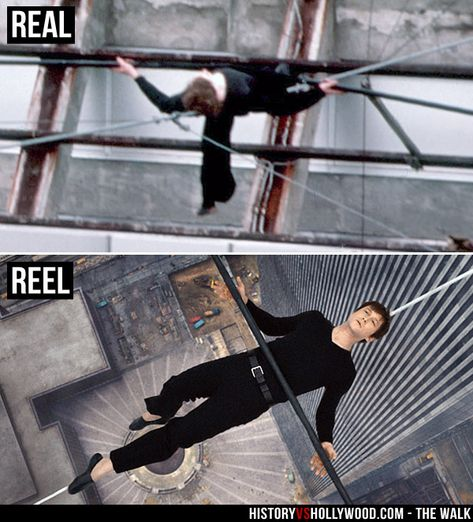 "Philippe Petit lies on his high-wire between the Twin Towers of the World Trade Center. Joseph Gordon-Levitt (bottom) recreates the moment for The Walk movie. Read ""The Walk: History vs. Hollywood"" http://www.historyvshollywood.com/reelfaces/the-walk/"
