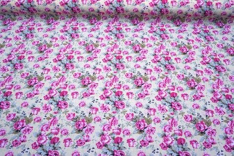 Polycotton Fabric CRAFTS FLORAL CERISE PINK Metre Material Special Offer