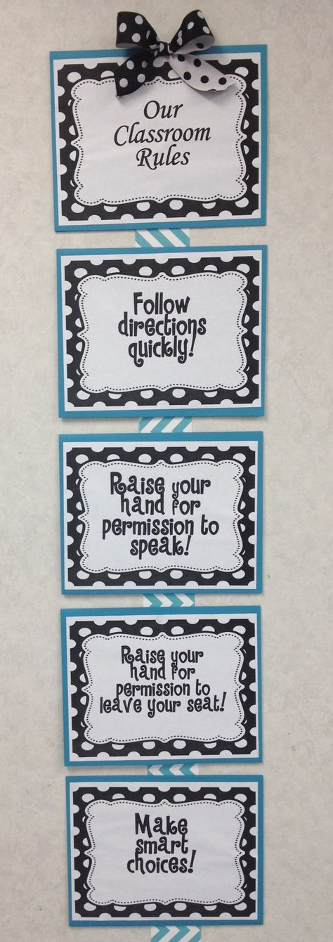 Whole Brain Teaching Chevron and Polka Dot Classroom Rules I made for my third grade class this year.