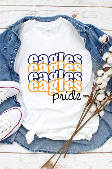 School Spirit Wear, School Spirit Shirts, School Shirts, School Spirit Crafts, Teacher Shirts, Club Shirts, Team Shirts, Sports Shirts, Cute Cheer Shirts