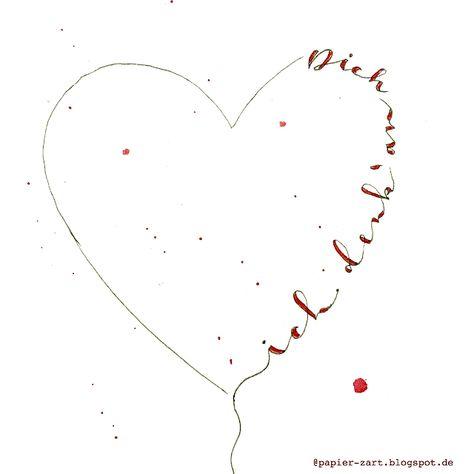 papierZART : Ich denk' an Dich, handlettering, lettering, Illustration, handgeschrieben, DIY Karte, liebe Worte, Sprüche