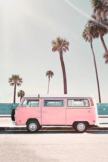 Pink Van Photographic Print By Sisiandseb In 2020 Photo Wall