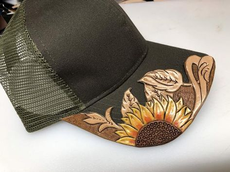 These are name brand caps with hand tooled leather brim toppers securely attached. Country Hats, Cute Country Outfits, Southern Outfits, Cute Outfits, Rodeo Outfits, Western Outfits, Western Wear, Leather Cap, Leather Tooling