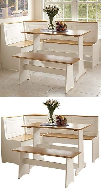 Dining Sets 107578 White Kitchen Corner Nook Set Breakfast Table Bench 3 Pc Booth Dining Ro Corner Booth Kitchen Table Kitchen Table Bench Corner Dining Table