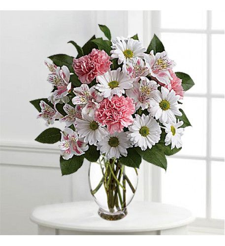Arrangements Of Soft Pink Carnation And White Daisies Carnation Wedding Flowers Mothers Day Flowers Birthday Flower Delivery