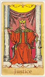 The Justice Tarot Card based on Rider-Waite