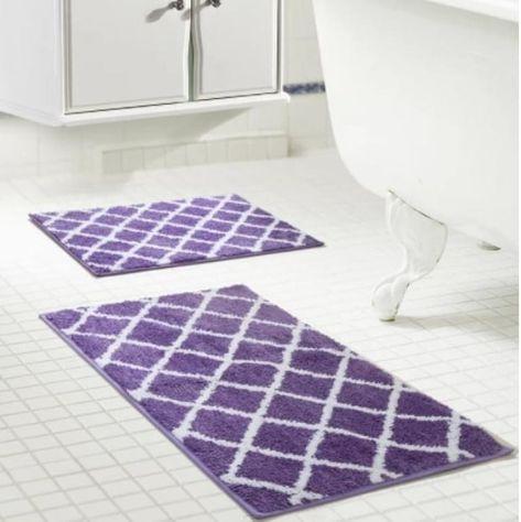 Purple Bathroom Rug Set Decor Ideas