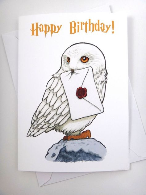Carte Harry Potter Carte Hedwig Carte Anniversaire Carte Amusante | Etsy - #Etsy #anniversair...