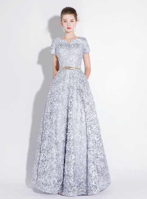 80f31d2be20 In Stock Ship in 48 hours Silver Gray Lace Cap Sleeve Prom Drespromdress   promdress2019 longpromdress cheappromdress promdressunder200 promdressunder100  ...