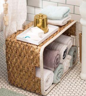 21 Tolle Tipps Um Dein Bad In Eine Unglaublich Schicke Oase Zu Verwandeln Aufbewahrung Handtucher Korb Badezimmer Aufbewahrung Wohn Mobel