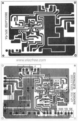 0 30v 0 5a Regulated Variable Power Supply Circuit Eleccircuit Com Power Supply Circuit Circuit Board Design Power Supply