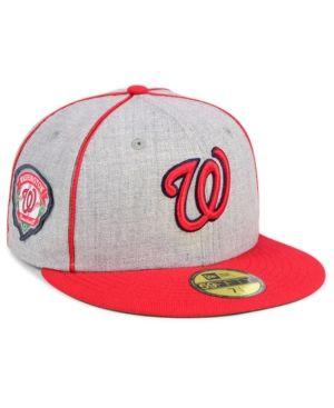New Era Washington Nationals Stache 59fifty Fitted Cap Gray 7 1 8 Washington Nationals Hat Hats For Men Mlb Apparel