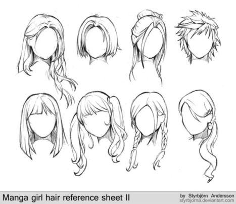 Manga Girl Hair Reference Sheet Drawing And Painting Tutorials