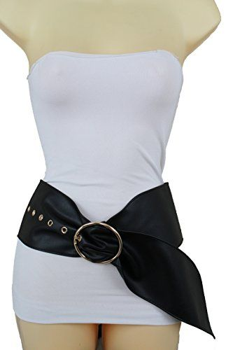 Women Faux Leather Belt Fashion Elastic Waistband Bow Tie Buckle Hip Waist S