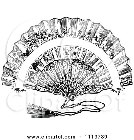 Clipart Vintage Black And White Hand Fan Royalty Free Vector Illustration By Prawny Vintage Clip Art Vintage Free Vector Illustration Vintage Black