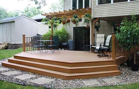 Stairs For 6 X 12 Foot Deck 20 X 12 Elevated Patio Deck With Wide Stairs At Menards Deck Deck Stairs Platform Deck High Deck