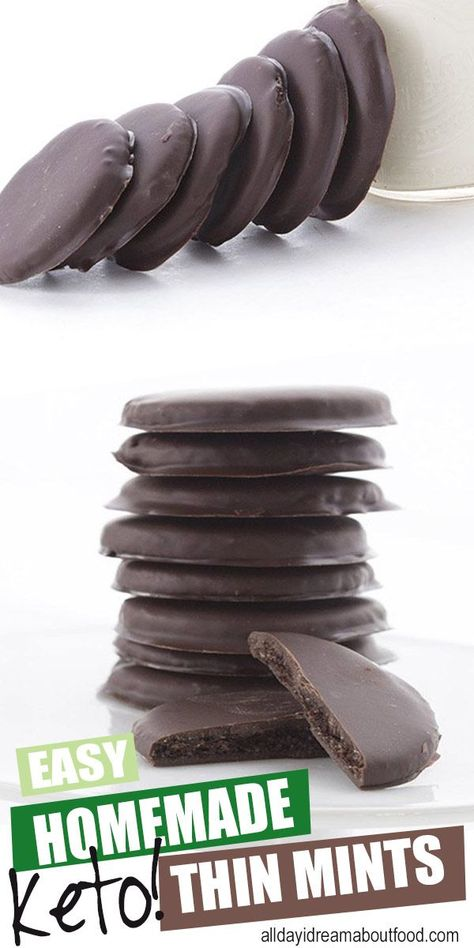 Homemade Thin Mints (Low Carb and Gluten Free) - Keto Recipes - Ideas of Keto Recipes - Better than Girl Scout Cookies and healthier too! Crisp keto chocolate wafers in a sugar free mint chocolate coating. These keto thin mints are a family favorite! Sugar Free Mints, Sugar Free Cookies, Keto Cookies, Keto Cookie Dough, Cheesecake Cookies, Sugar Free Desserts, Sugar Free Recipes, Keto Fat, Low Carb Keto