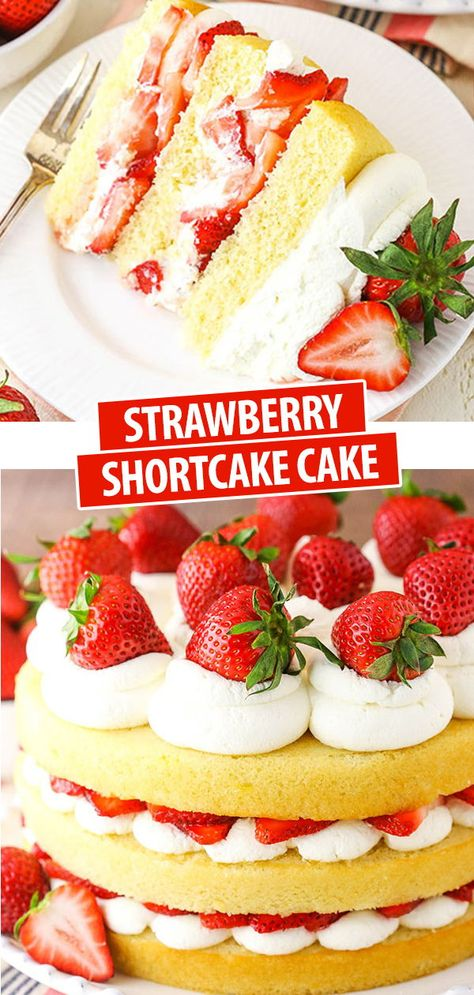 This Strawberry Shortcake Cake is an easy twist on the classic dessert with layers of moist vanilla cake, juicy strawberries and fluffy whipped cream! The perfect dessert for Valentine's Day! cake Easy Strawberry Shortcake Cake Recipe Perfect for Summer! Strawberry Shortcake Recipes, Strawberry Recipes, Strawberry Shortcake Birthday Cake, Moist Strawberry Shortcake Recipe, Strawberry Whipped Cream Cake, Strawberry Summer, Strawberry Cupcakes, Köstliche Desserts, Delicious Desserts
